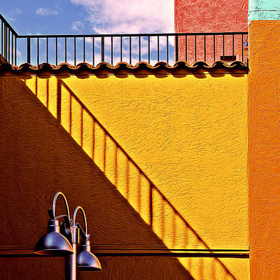 Photograph - Lamp And Shadows And Colors by Maria Coulson