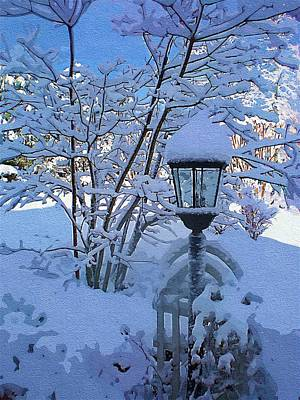 Mitchell Gibson Digital Art - Lamp And Snow by Mitchell Gibson