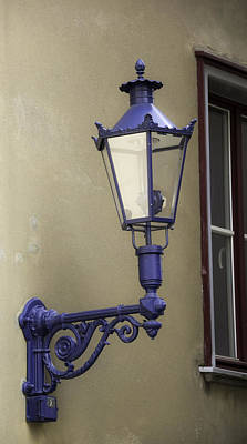 Prussian Blue Photograph - Lamp In Cologne by Teresa Mucha