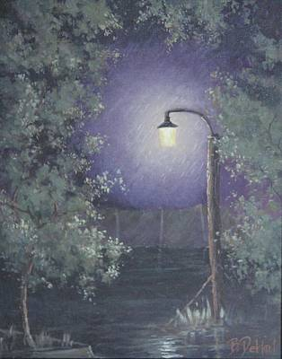 Night Lamp Painting - Lamp In The Rain by Benjamin DeHart