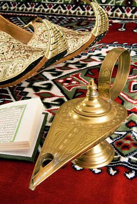 Aladdin Photograph - Lamp Of Aladdin, Arabic Shoes, Holy by Nico Tondini