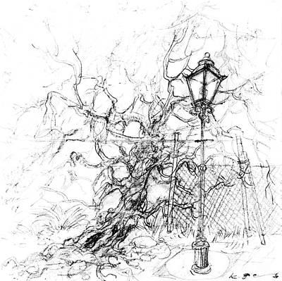 Lamp Post Drawing - Lamp Post And Tree by Kurt Tessmann