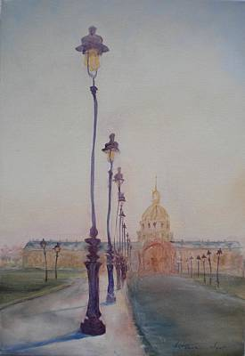 Invalides Photograph - Lamp Post In Front Of Dome Church, 2010 Oil On Canvas by Antonia Myatt