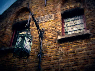 Lamp Post Mixed Media - Lamp Post On Brick by John K Woodruff