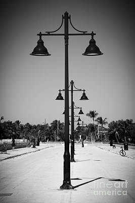 Lamp Posts White Street Pier Key West - Black And White Art Print