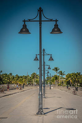 Lamp Posts White Street Pier Key West - Hdr Style Art Print