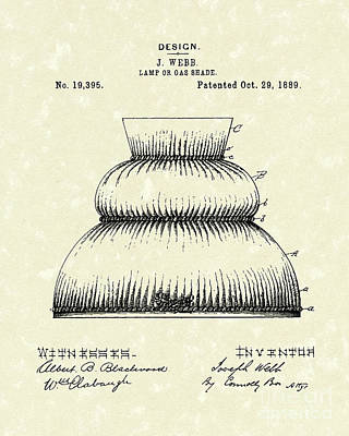 Gas Lamp Drawing - Lamp Shade 1889 Patent Art by Prior Art Design