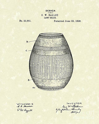 Drawing - Lamp Shade 1896 Patent Art by Prior Art Design
