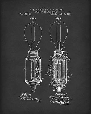 Drawing - Lamp Socket 1890 Patent Art Black by Prior Art Design