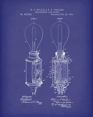 Drawing - Lamp Socket 1890 Patent Art Blue by Prior Art Design