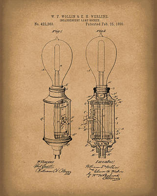 Lightbulb Drawing - Lamp Socket 1890 Patent Art Brown by Prior Art Design