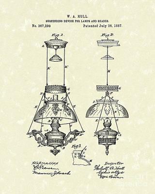 Lamp Drawing - Lamp Suspender 1887 Patent Art by Prior Art Design