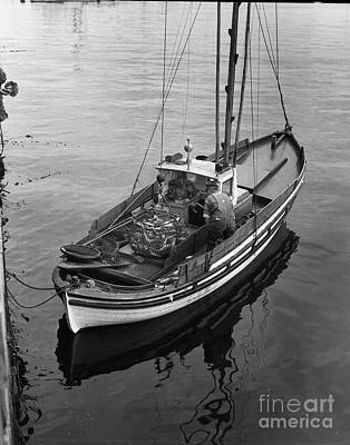 Photograph - Lampara Fishing  Boat In Monterey Harbor 1940 by California Views Mr Pat Hathaway Archives