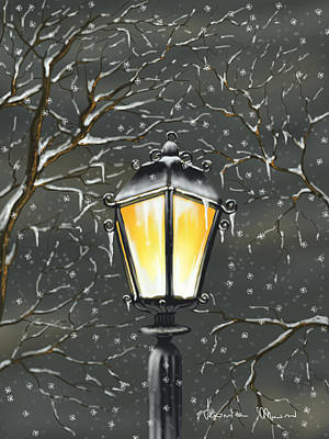 Street Lamps Painting - Lampione by Veronica Minozzi