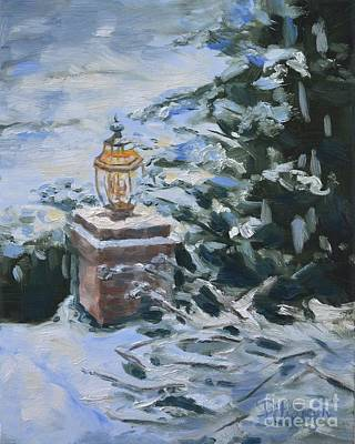 Night Lamp Painting - Lamplight In Snow by Lori Pittenger