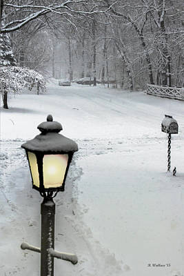 Lamppost In Snow Art Print by Brian Wallace