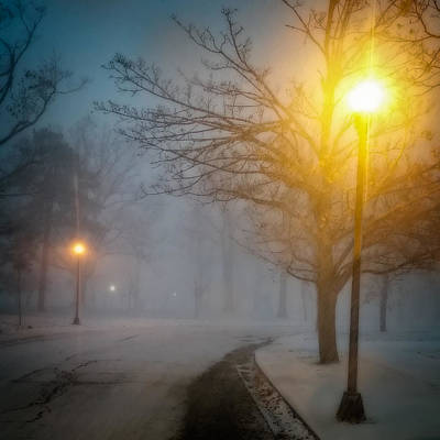 Park Scene Photograph - Lamppost Snowscape by Chris Bordeleau