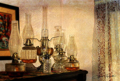 Oil Lamp Photograph - Lamps And Lace by Sylvia Thornton