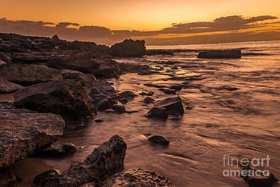 Grimm Fairy Tales - Lanai rocky beach sunset by Paul Quinn