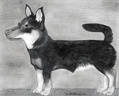 Lancashire Heeler Dog Portrait  Art Print by Olde Time  Mercantile
