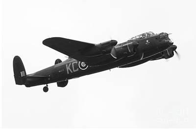 Lancaster Bomber Mono Art Print by J Biggadike