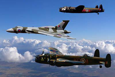 Lancaster Bombers And Vulcan Xh558 Art Print
