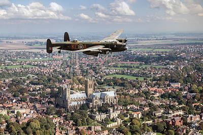 Photograph - Lancaster City Of Lincoln Over The City Of Lincoln by Gary Eason