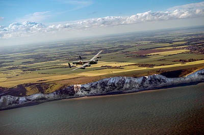 Photograph - Lancaster Over The White Cliffs In Kent by Gary Eason