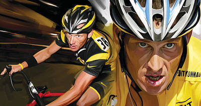 Cyclist Painting - Lance Armstrong Artwork by Sheraz A