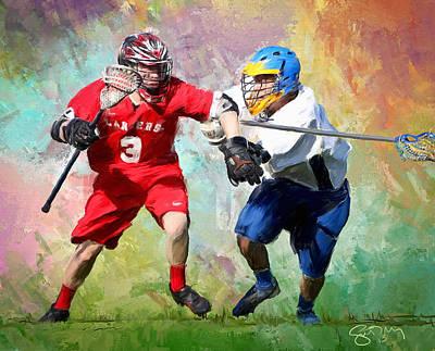 Lacrosse Painting - Lancers Lacrosse by Scott Melby