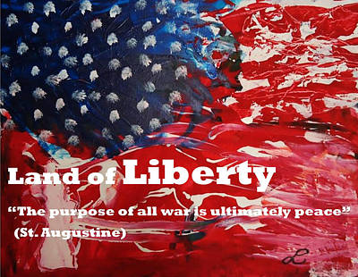 Mixed Media - Land Of Liberty Print by Luz Elena Aponte