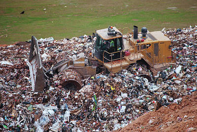 Waste Photograph - Landfill Waste Disposal Bulldozer by Peter Menzel