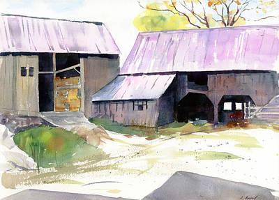 Barn Painting - Landgrove Barns by Amanda Amend