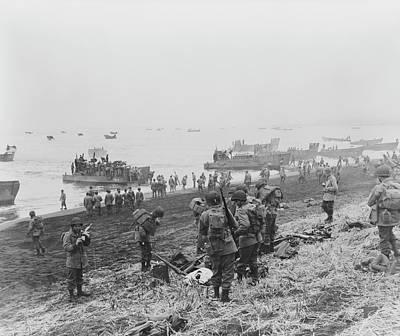 Landing Boats Unload Soldiers Onto Art Print