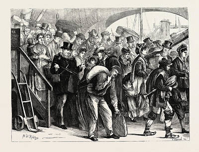 Refugee Art Drawing - Landing Of French Refugees At London Bridge by English School