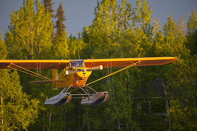 Float Plane Photograph - Landing Super Cub by Tim Grams