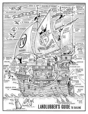 Drawing - Landlubber's Guide to Sailing by Eldon Frye