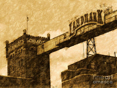 Antique Look Digital Art - Landmark Brewery by Putterhug  Studio