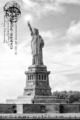 Statue Of Liberty Photograph - Landmark Statue Of Liberty In New York Harbor by Mark E Tisdale