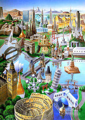 Towers Digital Art - Landmarks Of The World by Adrian Chesterman