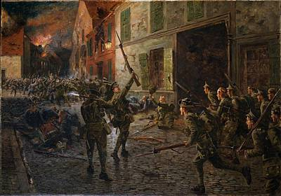 Bayonets Painting - Landrecies, 25th August 1914, 1915 by William Barnes Wollen