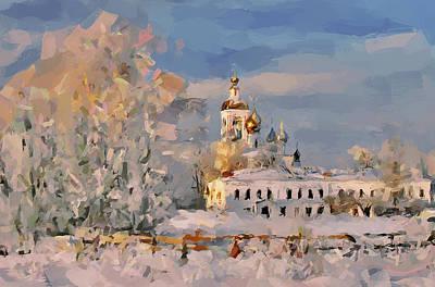 Siberia Digital Art - Landscape And Church by Yury Malkov