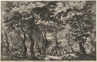 Landscape And Meeting Of Jacob And Esau Art Print by Bo?tius Adamsz. Bolswert And I. Semmius