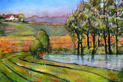 Farm House Painting - Landscape Art Scenic Fields by Blenda Studio