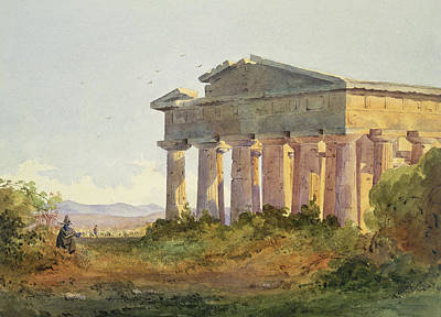 Greek Temple Painting - Landscape At Paestum by Arthur Glennie