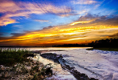 Art Print featuring the photograph Landscape Beach Sunset-golden Sun Rays-stream To The Sea by Eszra