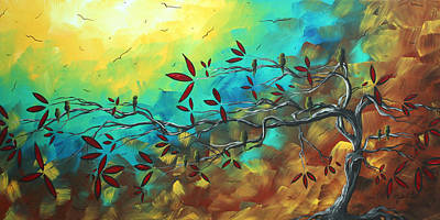 Bird Painting - Landscape Bird Original Painting Family Time By Madart by Megan Duncanson