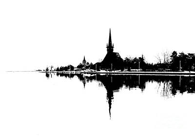 Photograph - Landscape Black And White - Reflection by Daliana Pacuraru
