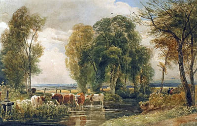 Livestock Painting - Landscape Cattle In A Stream With Sluice Gate by Peter de Wint