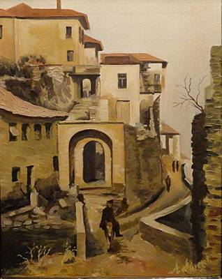 Signe Painting - landscape from Albania by Angel Angelov